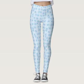Leggings Polainas azules claras y blancas de la flor de la