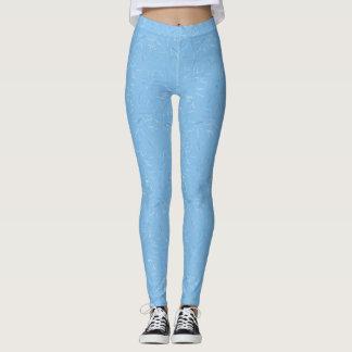 Leggings Polainas azules claras y blancas de la pintada