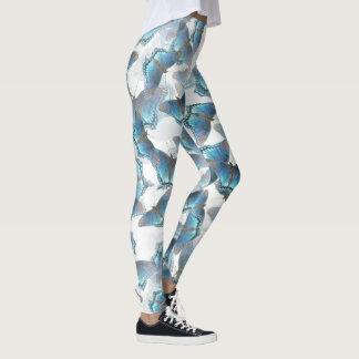 Leggings Polainas azules de baile de las mariposas