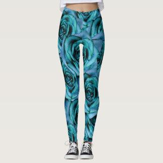 Leggings Polainas azules del diseño de los rosas