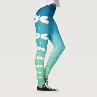 Leggings Polainas azules y verdes de la libélula