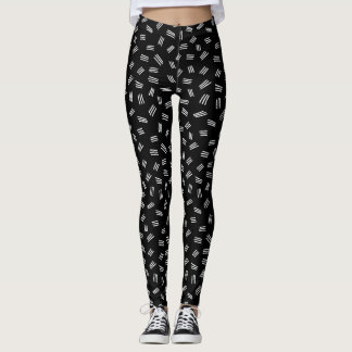 Leggings Polainas blancos y negros abstractas