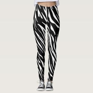 Leggings Polainas blancos y negros de la raya del tigre