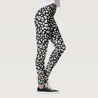 Leggings Polainas blancos y negros del estampado leopardo