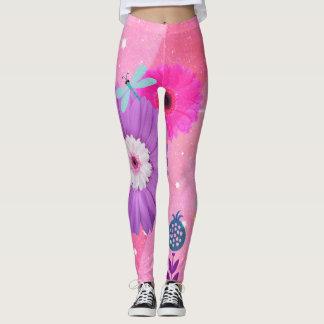 Leggings Polainas caprichosas rosadas brillantes de la flor