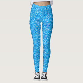 Leggings Polainas coloridas azules brillantes de la flor