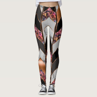 Leggings Polainas de Chevron del pavo real
