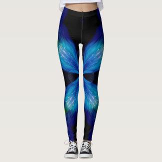 Leggings Polainas de encargo de la mandala del rayo azul