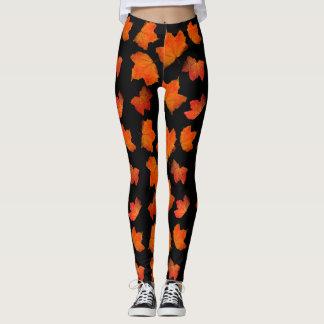 Leggings Polainas de Halloween del modelo de la hoja