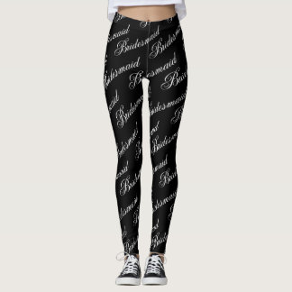 Leggings Polainas de la dama de honor - negro en blanco