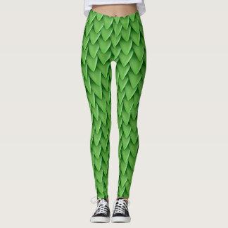 Leggings Polainas de la escala del dragón verde