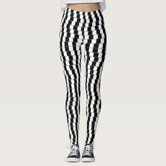 Leggings Polainas de la ilusión óptica - negro/blanco