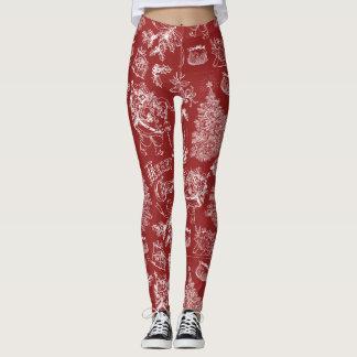 Leggings Polainas de los diseños del fondo rojo/del navidad