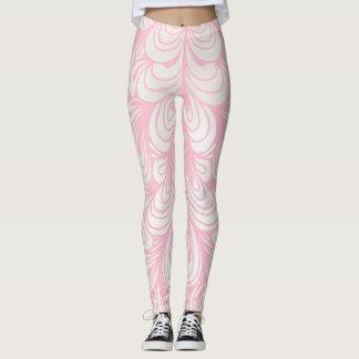 Leggings Polainas de los remolinos del rosa y del blanco