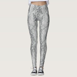 Leggings Polainas de mármol blancas de la impresión