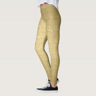 Leggings Polainas de oro del reflejo del modelo del damasco
