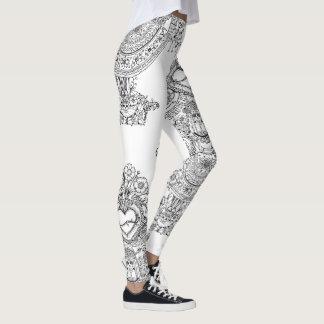 Leggings Polainas del árbol de los cráneos de los Doodles