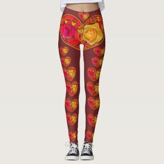 Leggings Polainas del diseñador de los rosas y de los