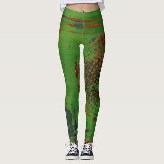 Leggings Polainas del espiral del arte abstracto - verde,