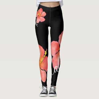 Leggings Polainas del hibisco de la hawaiana de la