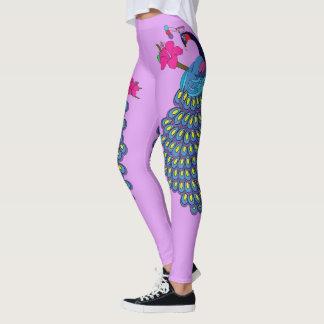 Leggings Polainas del pavo real y del hibisco