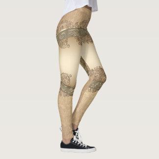 Leggings Polainas del reflejo del modelo del damasco del