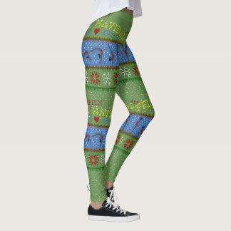 "Leggings Polainas del ""suéter"" de Feliz Flippin Navidad"