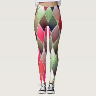 Leggings Polainas del verde del rosa del diseño geométrico