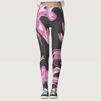 Leggings Polainas diseñadas rosadas y negras púrpuras