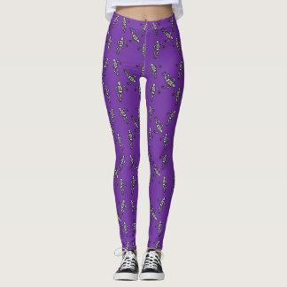Leggings Polainas esqueléticas púrpuras de Halloween del