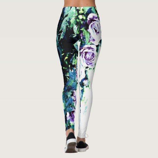 Leggings Polainas florales con azul, verde, versión II de