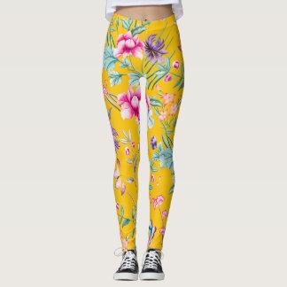 Leggings Polainas florales del Chinoiserie - fondo amarillo