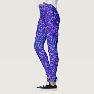 Leggings Polainas florales elegantes en azul