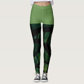 Leggings Polainas geométricas abstractas negras verdes del