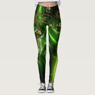 Leggings Polainas metálicas del oro verde