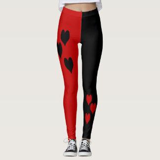 Leggings Polainas negras y rojas de los corazones