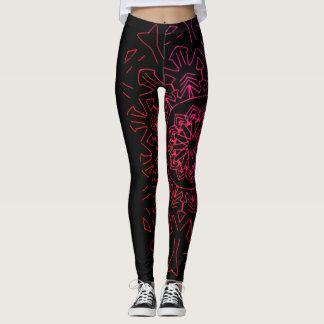 Leggings Polainas negras y rosadas de la mandala