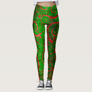 Leggings polainas onduladas verdes del navidad de los