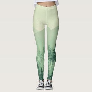 Leggings Polainas para mujer del pino verde elegante