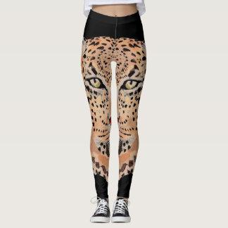 Leggings Polainas pintadas a mano del estampado leopardo