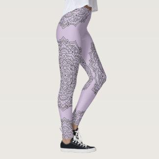 Leggings Polainas púrpuras de la mandala de la flor
