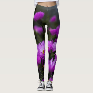 Leggings Polainas púrpuras de moda de la flor de las