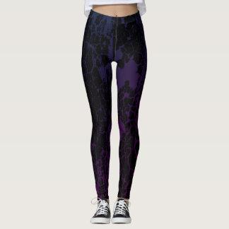 Leggings Polainas púrpuras/magentas de la pintura agrietada