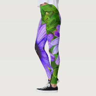 Leggings Polainas púrpuras/verdes de la flor atractiva de