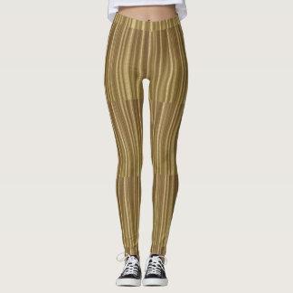 Leggings Polainas rayadas del reflejo del damasco del oro