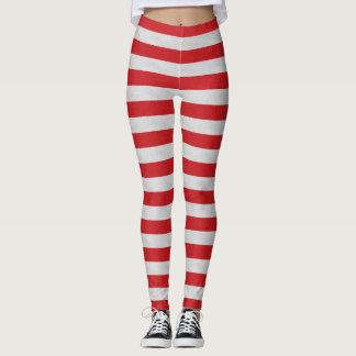 Leggings Polainas rayadas rojas y blancas