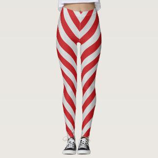 Leggings Polainas rayadas rojas y blancas del bastón de