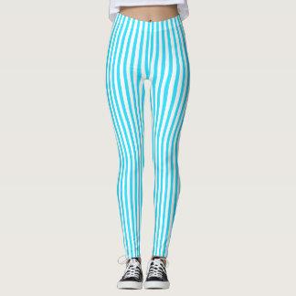 Leggings Polainas rayadas suaves en azul y blanco