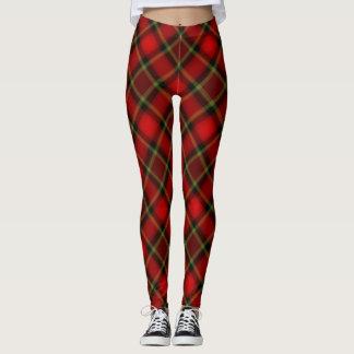 Leggings Polainas rojas de la tela escocesa del navidad y