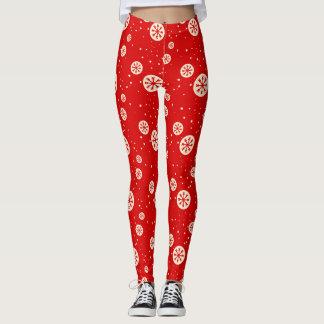 Leggings Polainas rojas y blancas retras de la impresión